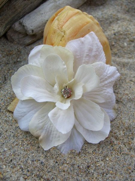 Floral Flower Hair ClipShabby Chic Ivory by sandnsurfcreations, $7.95