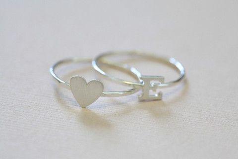 dainty stack rings, initial rings - secret love sterling silver stackable rings