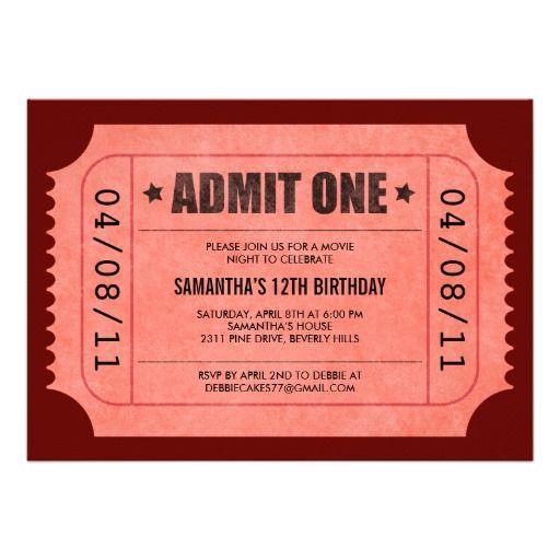 Printable Admit One Birthday Party Invite - Printable Birthday - admit one ticket template free
