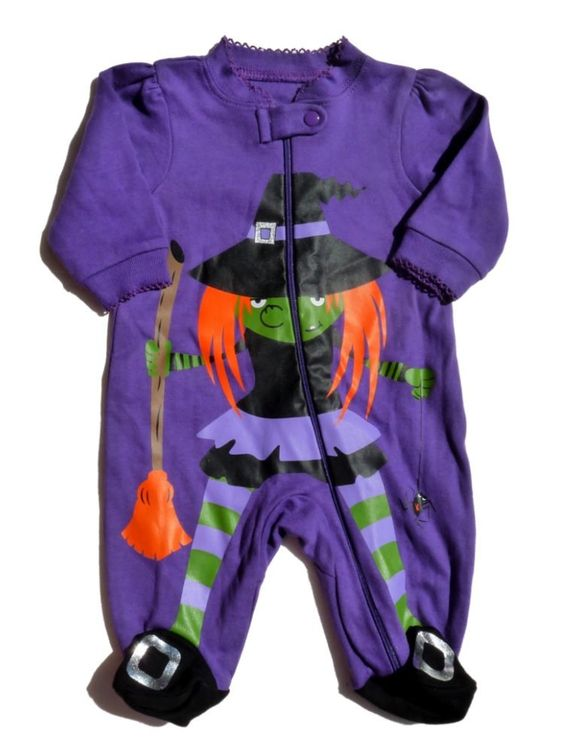 Faded Glory Infant Girls Purple Witch Sleeper Baby Halloween ...