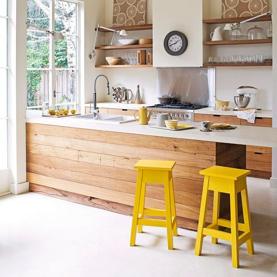 I love the wood/white combo here with splashes of color: Yellow Stools, White Kitchen, Kitchen Dining, Kitchen Design, House Idea, Open Shelving
