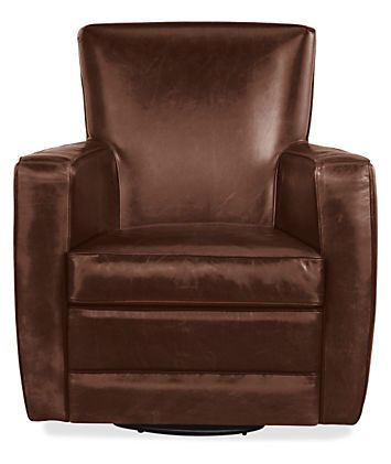 Elliot Leather Swivel Chair & Ottoman - Chairs - Living - Room & Board