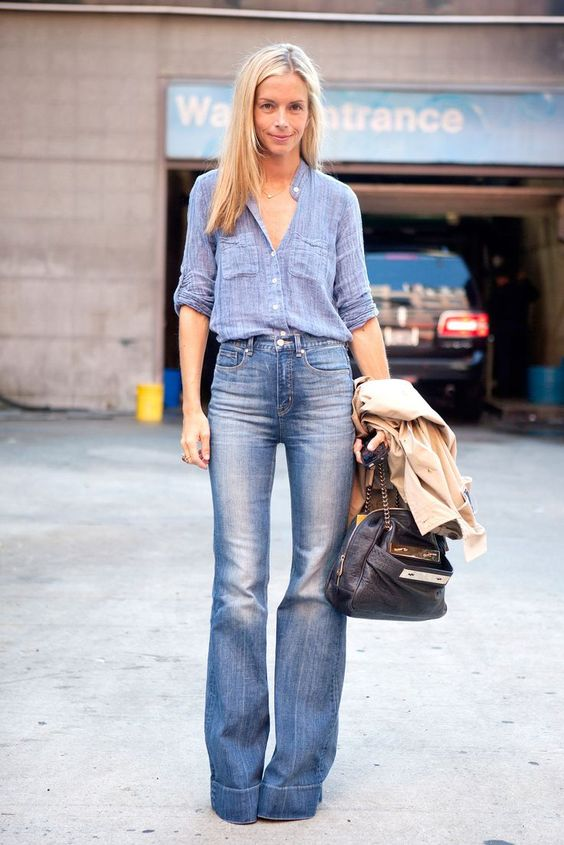 denim on denim style - love the high waisted flared jeans