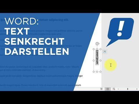 Ms Word Text Senkrecht Darstellen Youtube In 2020 The Words