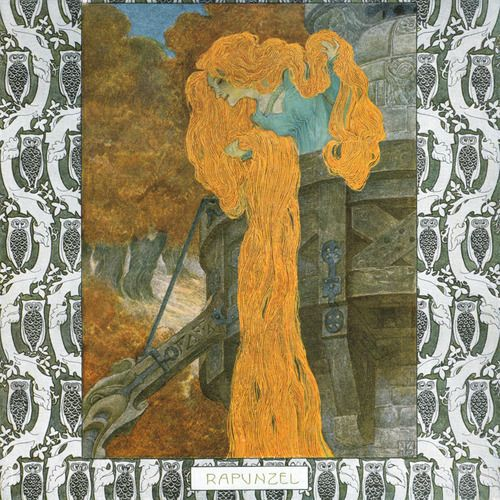 fuckyeahvintageillustration:  'Rapunzel' by the Brothers Grimm, illustrated by Heinrich Lefler. Part of a fairy tale calender published 1905 by Berger & Wirth, Leipzig. Source: