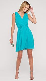 Dress with waist emphasis in light turquoise