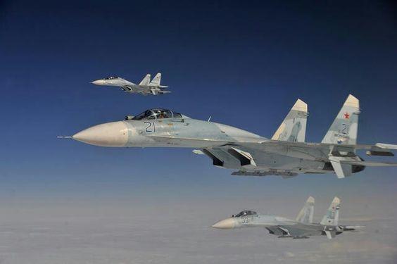 "Russian SU-27 in a  simulated hijacked airplane. ""Exercise Vigilante Eagle 3"""