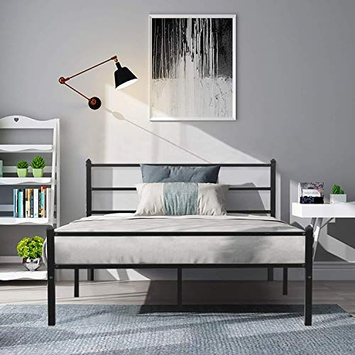 Amazing Offer On Greenforest Metal Bed Frame Queen Size Sturdy Platform Foundation Headboard Non Slip Steel Slats Support No Box Spring Needed Matte Black Online In 2020 Metal Bed Frame Queen Bed