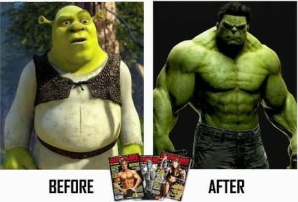 Shrek - before and after.