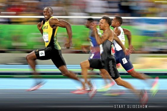 This incredible photo captures Usain Bolt in his natural state at the 100-meter semifinal at the Olympics in Rio.