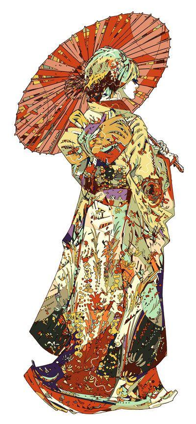 Hiki-Furisode ex Machina | Hirofumi Sugimoto: Illustrations Paintings Art, Digitalart Hrfm, Hiki Furisode, Art Illustrations Posters, Fm Deviantart, Japanese Kimono