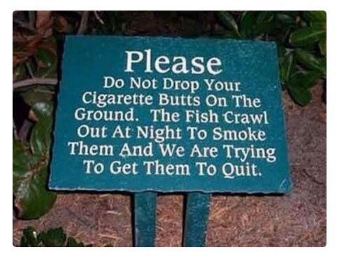 Cigarette Butts Sign
