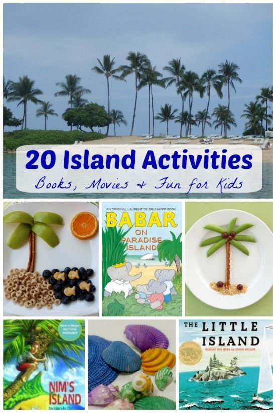 Have fun hosting an Island Day with the kids!  Great DIY books, snacks, movies & island crafts!