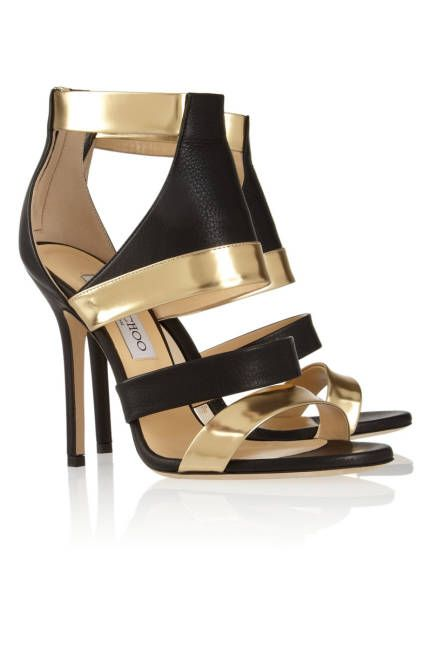 The hottest summer sandals ,black and gold leather heels