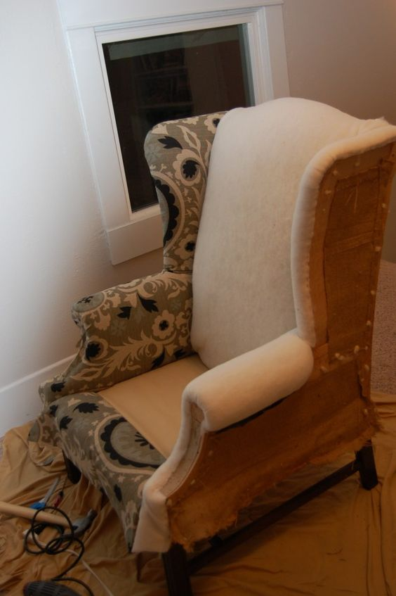 how to re-upholster wing back chair  reminds me of my sister-in-law Anne! :)