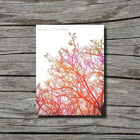 Surreal warm color photography, bare tree winter photography, red yellow, hippie, bohemian decor, dorm decor, bedroom decor, office decor