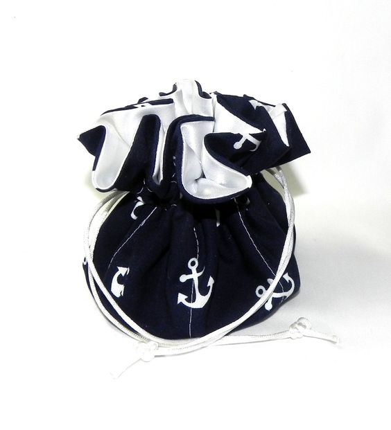 Drawstring Jewelry Pouch Jewelry organizer Navy blue and white