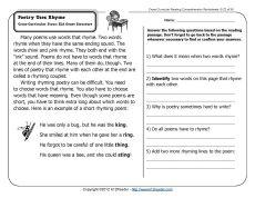 poetry uses rhyme comprehension comprehension worksheets and worksheets. Black Bedroom Furniture Sets. Home Design Ideas