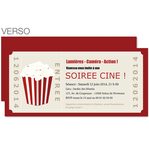 carte invitation anniversaire theme cinema a imprimer go49 jornalagora. Black Bedroom Furniture Sets. Home Design Ideas