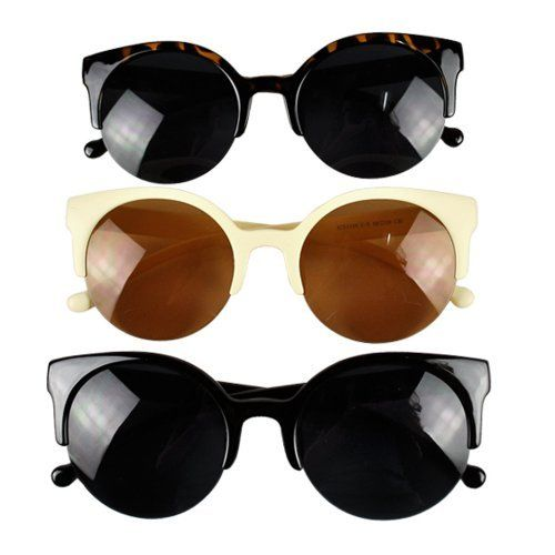 FINEJO Unisex Retro Designer Super Round Circle Cat Eye Semi-Rimless Sunglasses