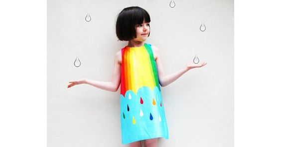 This divine, digitally printed raindrops and rainbow dress conjurs all the beauty of a summer storm. $85 from Wild Things Dresses.
