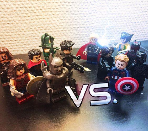 Superheroes Civil War. Team DC vs Team Marvel.  #legosuperheroes #brickworld #minifigures #marvel #dccomics #legolife #teamcap #avengers #justiceleague #vs #marvelvsdc #afol #toyartistry #legostagram #captainamerica #batman #wonderwoman #superman #thor #wintersoldier #minifigs #legomarvel #legodc #epicbattle #mjolnir #fight #sy #superheroes by movupper