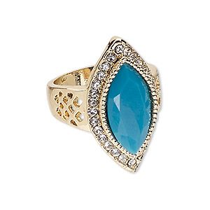 """Ring, glass / Egyptian glass rhinestone / gold-finished """"pewter"""" (zinc-based alloy), turquoise blue and clear, 30x16mm marquise, size 9. Sold individually."""