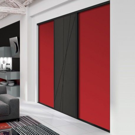 3 Portes Coulissantes Deco Groseille Et Mikado Noir Glace 2300 X 2400 Laque Noir Mat Wardrobe Design Bedroom Wardrobe Cabinet Bedroom Cupboard Design
