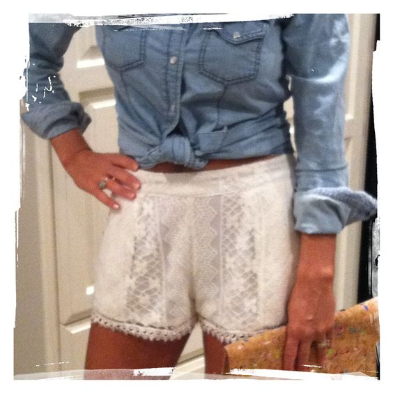 lace shorts + denim shirt... Love these shorts!