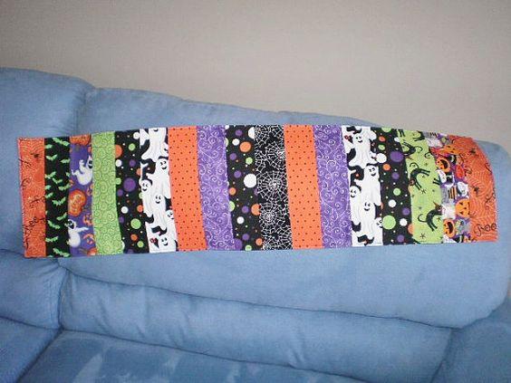 Halloween Runner Black Cat Pumpkins Cob Web Bats by Love2quilt, $24.00