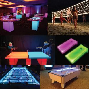Led games more led casino tables led volleyball for Cocktail tables rental los angeles