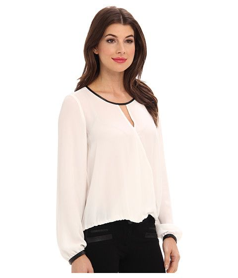 Adrianna Papell L/S Draped Blouse w/ Slight V-Neck and Gathered Cuff Ivory - Zappos.com Free Shipping BOTH Ways