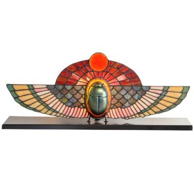 Egyptian influenced lamp design with winged scarab, glass and metal.
