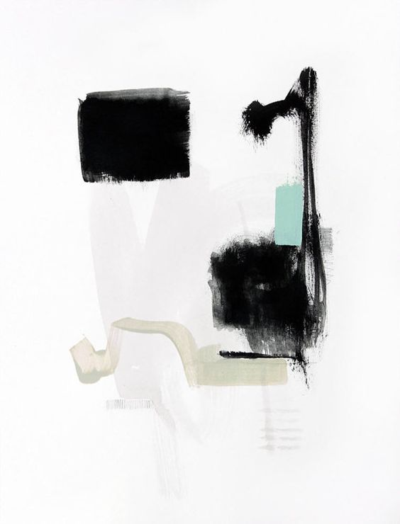 Print of Abstract Black and White Painting - Let Go by Jamie Derringer $25