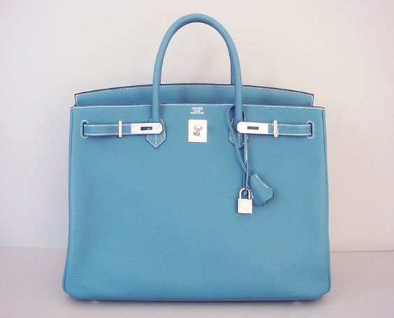 Hermes Blue Jean 35cm Birkin Leather Palladium