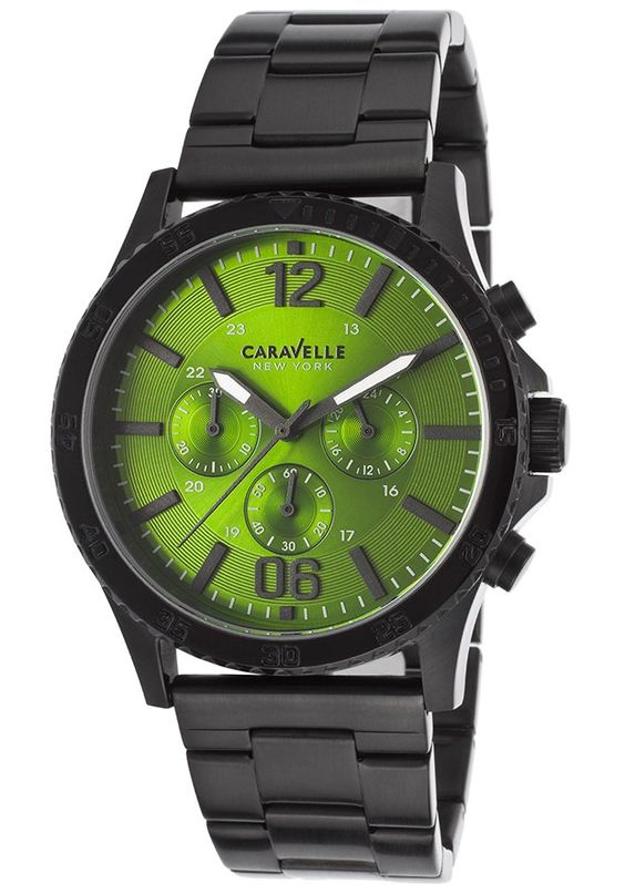 Caravelle NY Watches Men's Chronograph Black IP SS Green Dial Black IP SS 45A107,    #CaravelleNY,    #45A107,    #Casual