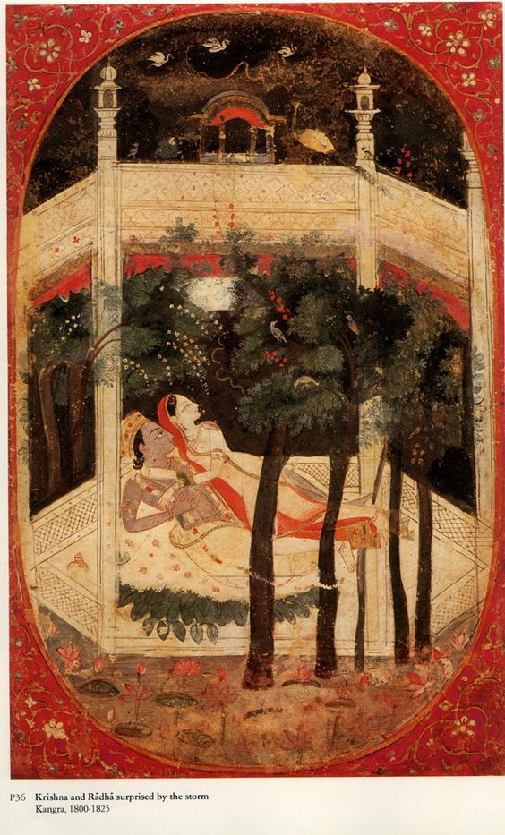 Radha and Krsna suprised by a Storm in a walled garden at night. The storm without reflects the storm within. Kangra, India 1800-25/