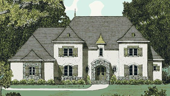 French Country Louisiana House Plans Front Elevation