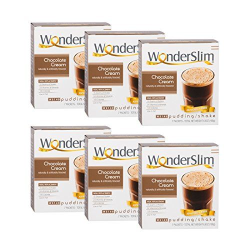 WonderSlim Low-Carb Meal Replacement Shake / High Protein Shake / Aspartame Free Diet Shake & Pudding Mix (15g Protein) - Chocolate Cream (7 ct) 6 Box Value Pack (Save 10) - Low Carb, Gluten Free:   Whether you make meal replacement shakes or creamy