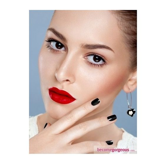 Neutral Eyes and Bold Red Lips Makeup New Years Party Makeup Ideas... ❤ liked on Polyvore