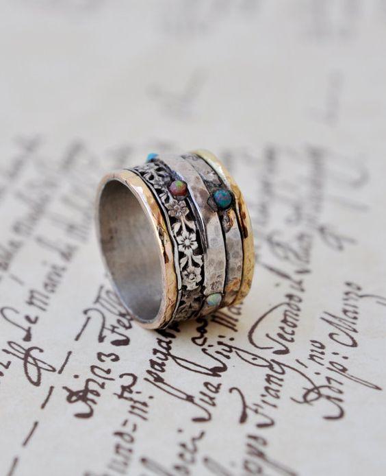 Erklärung-Ring Silber & Gold von Yardenajewelry auf Etsy