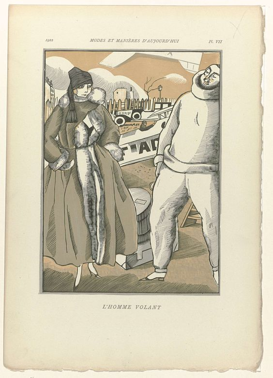 Fernand Siméon | Modes et Manières d'Aujourd'hui, 1922, Pl. 7 : L'Homme Volant, Fernand Siméon, Anonymous, 1922 | Een vrouw in een mantel afgezet met bont staat naast een piloot. Op de grond staan twee koffers. De man draagt een trui en lange broek. Schoen met puntige neus en hak. Op de achtergrond een vliegtuig en auto. De prent maakt deel uit van een serie van 12 houtsneden van Fernand Siméon, met teksten van Paul Valery, voor het zevende deel (10e année 1922) van Modes et Manières…