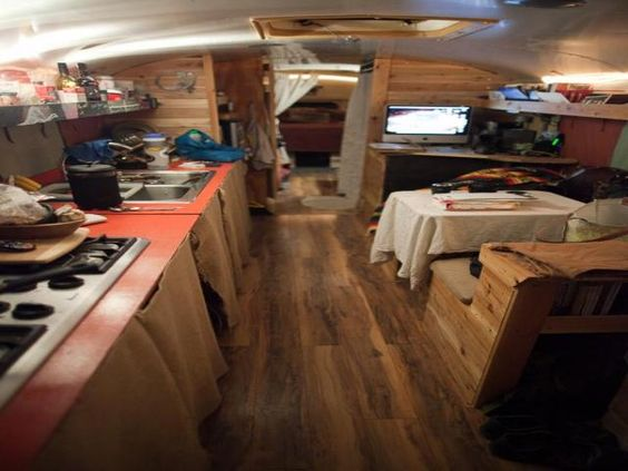 Interior Cedar Trimmed Bluebird Bus Conversion for sale in Texas