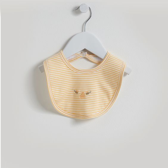 A cute baby bib from Kissy Kissy Bumble Bees collection with embroidered Bees detail. Made from soft organic pima cotton, gentle on baby's delicate skin.