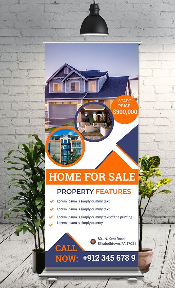 Real State Roll Up Banner Free Psd Real Estate Banner Standee Design Travel Brochure Design