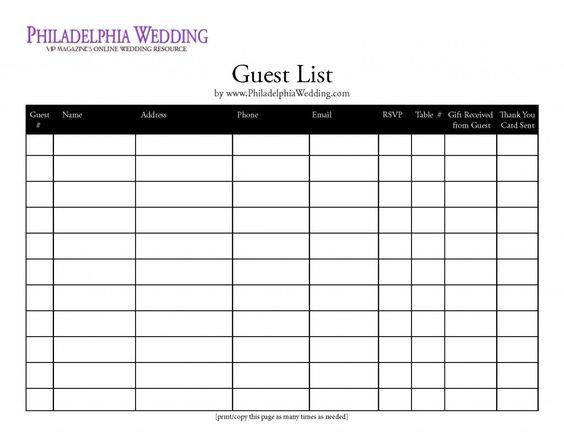 Wedding guest list organizer Wedding Planning – Free Printable Guest List