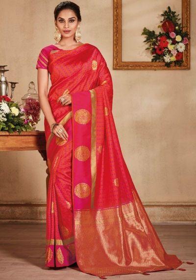 8865b32435 Salmon color silk Indian wedding saree 932 in 2019   Indian Wedding ...