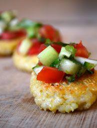 The bite-sized Quinoa Cakes with Tomato-Cucumber Salsa