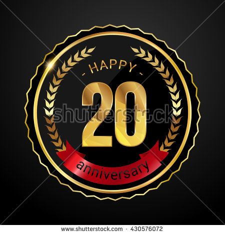 20 golden anniversary logo with red ribbon, low poly design number - stock vector