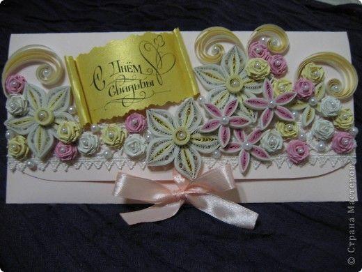 Открытка Свадьба Квиллинг Свадебные конвертики для денежного подарка Бумажные полосы фото 5